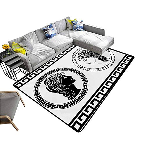 Office Chair Floor Mat Foot Pad Toga Party,Roman Aristocrat Woman Profiles Circular Classical Frames Hairstyle Beauty,Black White 60