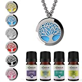 "mEssentials Tree of Life Essential Oil Diffuser Necklace Gift Set - Includes Aromatherapy Pendant, 24"" Stainless Steel Chain, Refill Pads and 100% Pure Oils (Lavender, Peppermint, Inner Calm and Zen)"