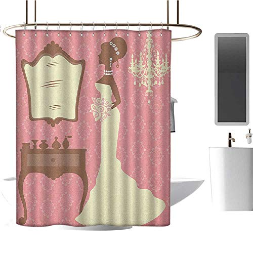 Vanity 3 Windsor Light (White Shower curtain72 x78 Bridal Shower,Wedding Dress with Flowers and Vanity Swirl Backdrop Celebration Coral Brown and White,Curtain Anti Mould for Bathroom & Toilet)