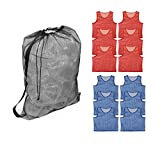Get Out! Youth Kids Mesh Sports Scrimmage Vest Jersey Pinnies (12) & Drawstring Bag (1) – Soccer, Basketball, Football