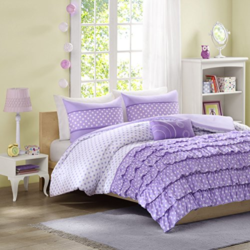 Mizone Morgan 4 Piece Comforter Set, Full/Queen, Purple (Purple Full Bedding Sets)