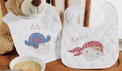 Bucilla Baby Stamped Cross Stitch Quilted Bib Kit, 9 by 14-Inch, 45598 Ships Ahoy (Set of (Stamped Cross Stitch Quilted Bibs)