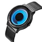 SINOBI Stylish Men's Quartz Wrist Watch with Unique Dial Gradient Color Swirl Pointer Design and Milanese Band