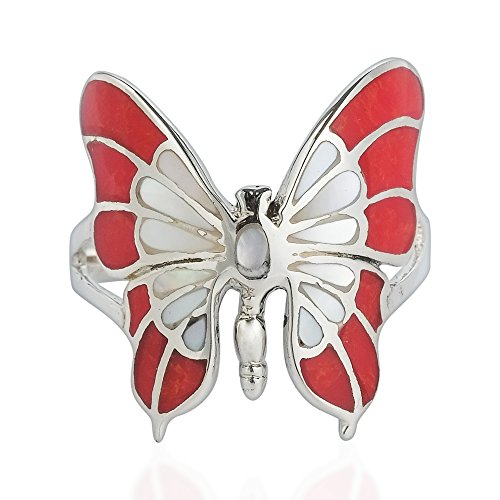 (AeraVida Exotic Graceful Butterfly Reconstructed Red Coral and Mother of Pearl Inlay .925 Sterling Silver Ring (7))