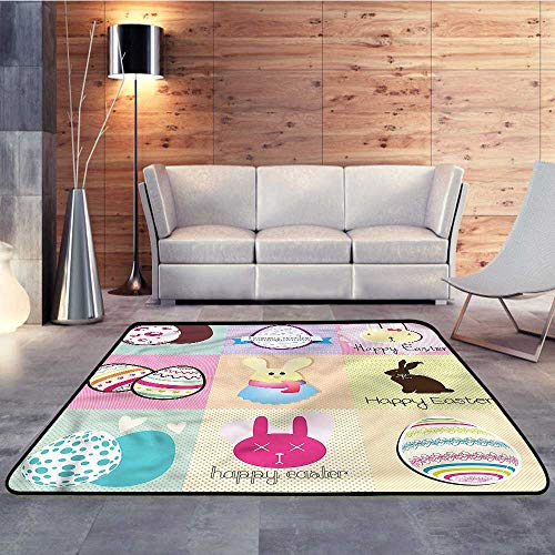 Bath Rugs,Easter,Bunnies and Eggs CheckeredW 55