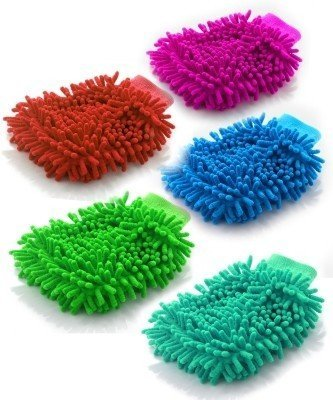 UVA Pack of 5 Microfiber Double Sided Dusting Cleaning Glove for Home Office Kitchen Hotel