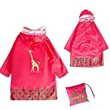 Kid Rain Coat, Cartoon Waterproof Children's Raincoat Lightweight for Ages 3-12 Years Old Girls and Boys 4 Size (L, Pink)
