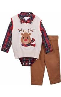 9f8ef8cd2 Amazon.com  Bonnie Jean Boys Snowman Sweater Vest Pant Set 3 Pc Set ...