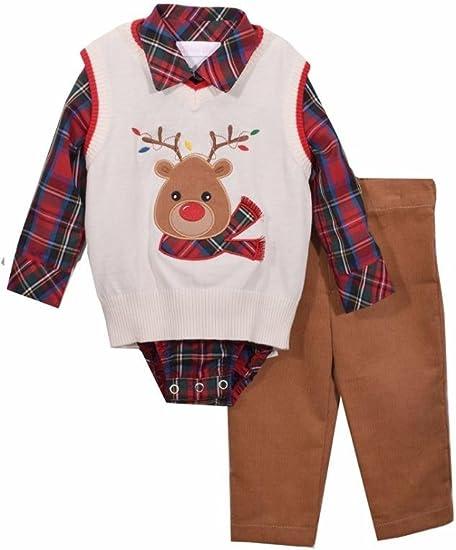 Bonnie Jean Boys Baby Christmas Santa Shirt and Pants Set