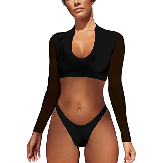 29cb4cb3a8 Sport Lingerie, Womens Sexy Bikini Contrast Color Long Sleeve Crop Tops  Rashguard Thong Tankini Swimsuit Set: Clothing