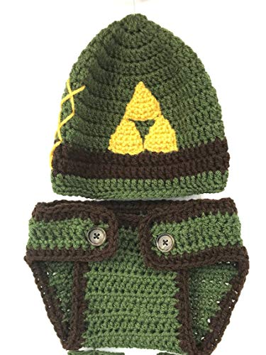 Link Cosplay Hat, Newborn 0-3 Mo. Baby Photo Shoot Photography Prop Crochet Link Hat with Diaper Cover]()