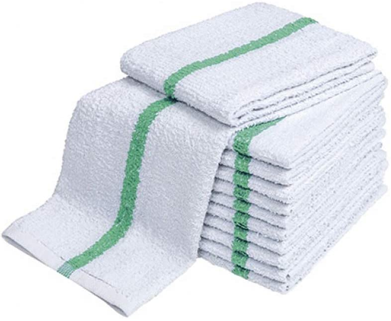 28oz Bar Mop Towels 16x19, 100% Cotton, Commercial Grade Professional Kitchen/Restaurant BarMop Towels (Green Stripe-48 Pack)