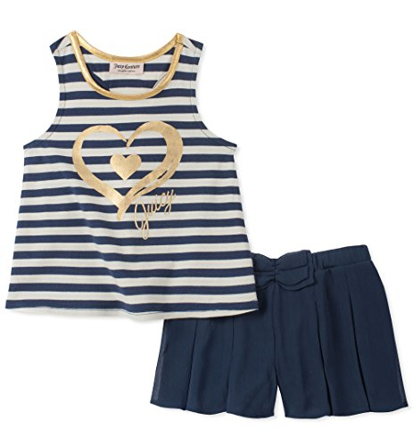 Juicy Couture Little Girls' 2 Pieces Shorts Set, Navy/White/Gold, 6X