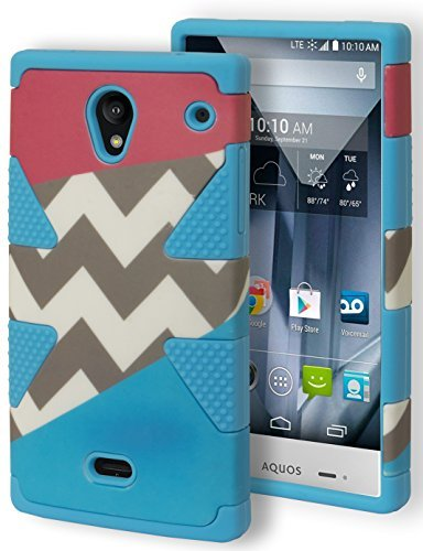 Aquos Crystal Case, Bastex Heavy Duty Hybrid Dynamic Protective Case - Soft Sky Blue Silicone Cover with Red Blue and Chevron Tri Split Design Hard Case for Sharp Aquos Crystal 306SH