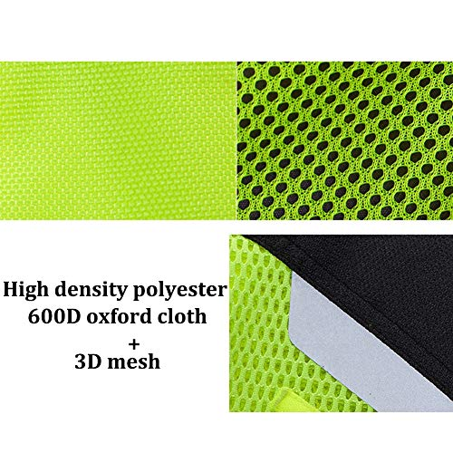 TZTZD Professional Safety Motorcycle Vest High Visibility Jacket Fluorescent Crease Resistant Reflective Strips Zip with Large Pockets,XXL(70~80KG) by TZTZD (Image #3)