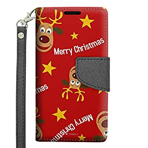 Samsung Galaxy Avant Wallet Case - Merry Christmas Reindeer on Red Pattern