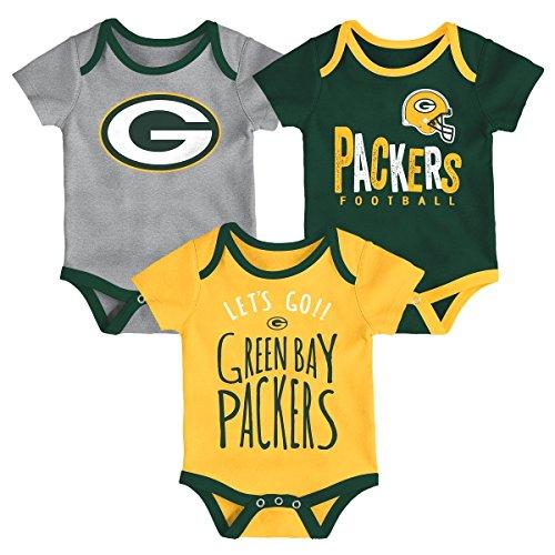 Outerstuff NFL NFL Green Bay Packers Newborn & Infant Little Tailgater Short Sleeve Bodysuit Set Hunter Green, 18 Months
