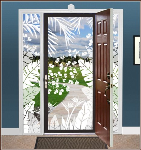 Tropical Oasis Etched Glass See-Thru Design 24 in. x 78 in. Left - Wallpaper For Windows! Decorative Window Film