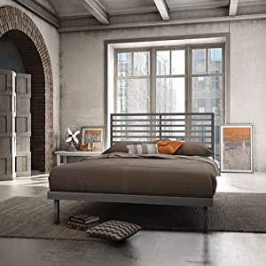 Amisco Theodore Modern Double Metal Platform Bed - Magnetite