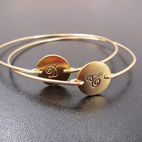 Initial Monogram Bracelets in Cursive Font (set of 2) Circle Disc Bangles Personalized Jewelry ()