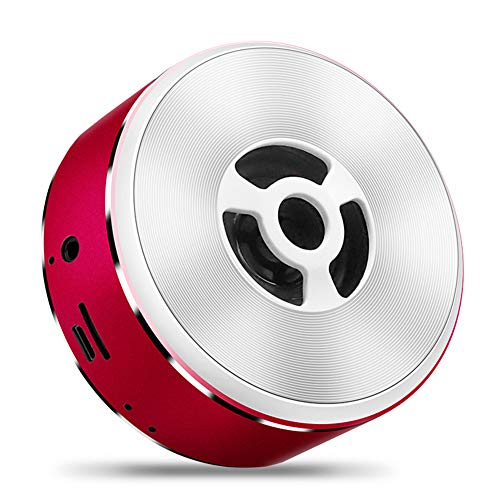 Speaker Outdoor Portable Wireless Audio Metal Small Player Round Drive TF Card Support for Beach Hiking Camping,Red ()