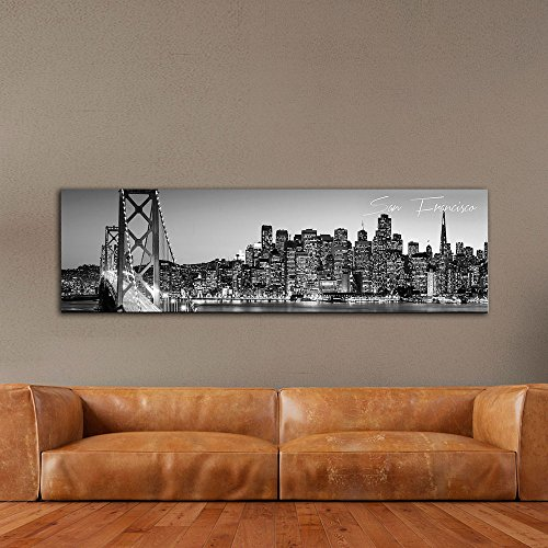 (WallsThatSpeak Panoramic San Francisco 2 Cityscape Picture, Black and White Stretched Canvas Art Prints, Wall Decoration for Bedroom or Office, Framed and Ready to Hang, 14