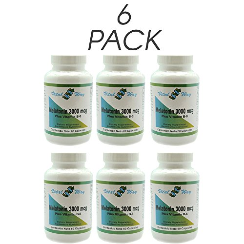 Amazon.com: Vital Way Melatonin 3000 MCG (3 MG), Natural Supplement, Sleep Support With vitamin B-6, 60 Capsules (Pack of 3): Health & Personal Care