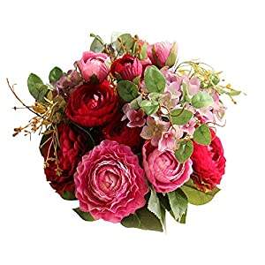 Lemax Fake Flowers Bridal Wedding Bouquet Artificial Ranunculus Rose Flowers Arrangement Home Wedding Decoration (Purple red) 4