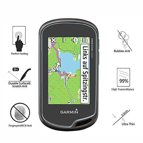 (Pack of 4) Tempered Glass Screen Protector for Garmin Oregon 600(t) / 650(t) / 750 GPS, Akwox 0.3mm 9H Hard Scratch-Resistant Screen Protector for Garmin Oregon 600 600t 650 650t 750