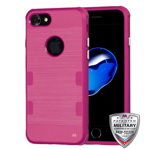 ShopAegis - [FLEXIBLE] [Red] Natural Hot Pink Tough Skin Cover [Premium 2.0MM TPU/ Durable / Skin Protective / Anti-Scratch] Phone Cover Case for Apple iPhone 8/7