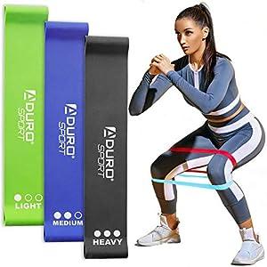 Aduro Sport Resistance Bands Set Exercise Workout Bands Loops Set for Women Men Booty Leg, 3X Resistance Levels – Light…