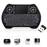 Mini Wireless Keyboard with Touchpad Mouse, Wireless Keyboard for Smart TV, Multimedia Remote Keyboard for Android TV Box,Laptop,Xbox 360,PC,PS3-RGB Backlit