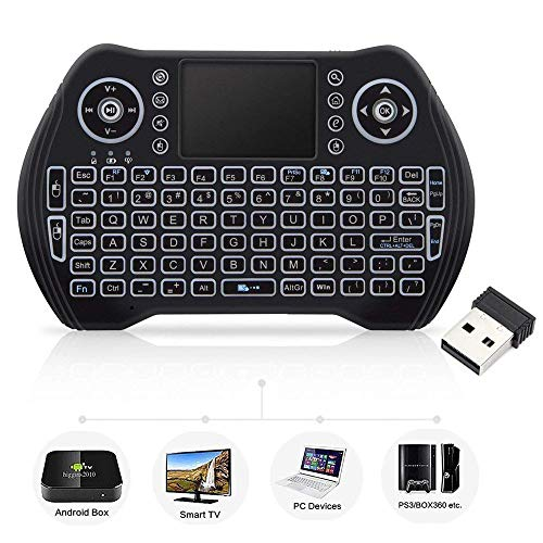 Mini Wireless Keyboard with Touchpad Mouse, Wireless Keyboard for Smart TV, Multimedia Remote Keyboard for Android TV Box,Laptop,Xbox 360,PC,PS3-RGB Backlit (Tv Keyboard)