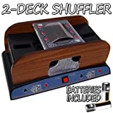 Standard 2 Deck Wooden Deluxe Card Shuffler w/ Batteries Set of Two GSHU-004.Free-10