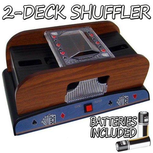 Standard 2 Deck Wooden Deluxe Card Shuffler w/ Batteries Set of Two GSHU-004.Free-10 by Casino Supplies