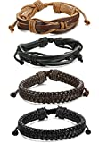 ORAZIO 4PCS Leather Bracelet for Men Womens Braided Rope Bangle Cuff Bracelet,7.5-8.5 Inches Adjustable