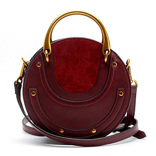 Actlure Women Genuine Cowhide Leather Round Shape Top handle Shoulder Purse Crossbody Bag (Wine)