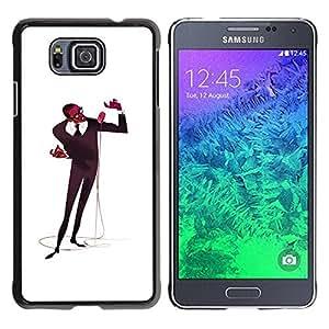 Slim Design Hard PC/Aluminum Shell Case Cover for Samsung GALAXY ALPHA G850 Microphone Singer Man Black Music Art / JUSTGO PHONE PROTECTOR