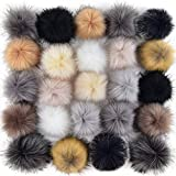 Coopay 24 Pieces Faux Fox Fur Pom Pom Balls DIY Fur Fluffy Pom Pom with Elastic Loop for Hats Keychains Scarves Gloves Bags Charms Knitting Accessories (Popular Mix Colors): more info