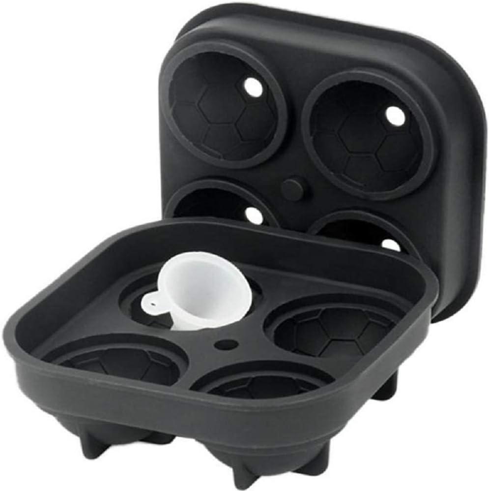 Football shape Ice Ball Maker – Novelty Food-Grade Silicone Ice Mold Tray With 4 X 4.5cm Ball Capacity