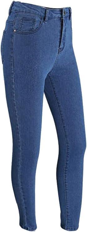 TALLA XXL. GUOCU Pantalones Vaqueros Mujer Slim Fit Cremallera Trasera Transpirable Cintura Alta Moda Largos de Mezclilla Jeans Delgados