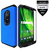 Moto G6 Play Case/Moto G6 Forge Case With Tempered Glass,IDEA LINE(TM) Hybrid Hard Shockproof Slim Fit Brushed Shockproof Protector Cover Heavy Duty Protective
