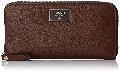 Fossil Dawson Zip Wallet, Espresso, One Size