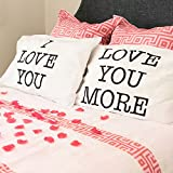 I Love You & Love You More Cotton Polyester Standard Size Pillowcase Pair for Bedroom, Home Decoration Set, Anniversary Valentine's Day Gift by Super Z Outlet