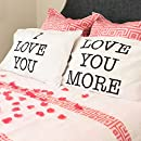 I Love You & Love You More Cotton Polyester Standard Size Pillowcase Pair for Bedroom, Home Decoration Set, Anniversary Valentine's Day Gift