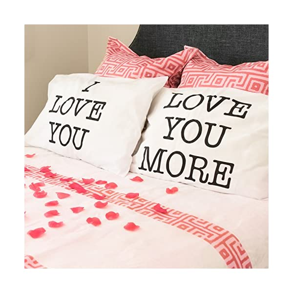 Super Z Outlet I Love You & Love You More Cotton Polyester Standard Size Pillowcase Pair for Bedroom, Home Decoration Set, Anniversary