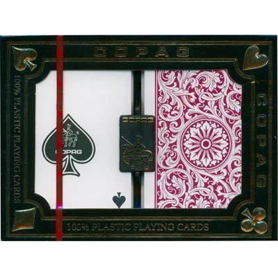 Green Copag (Deluxe 2 Deck Set of Copag Series 1546 100% Plastic Playing Cards - Includes Bonus Copag Cut Card! (GREEN/BURGUNDY))