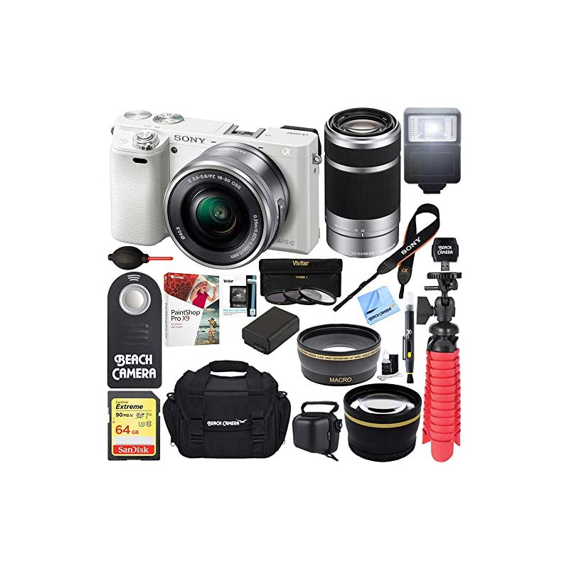 Sony Alpha a6000 24MP Mirrorless Camera 16-50mm & 55-210mm Zoom Lens (White) + 64GB Accessory Bundle + Deluxe Gadget Bag + Extra Battery+Wide Angle Lens+2x Telephoto Lens (Essential Kit, White)