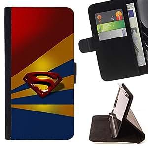 BullDog Case - FOR/Samsung ALPHA G850 / - / Superhero Crest /- Monedero de cuero de la PU Llevar cubierta de la caja con el ID Credit Card Slots Flip funda de cuer