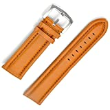 Xinslon 24mm Genuine Leather Padded Vintage Brown Watch Band Brushed Tang Buckle for Men